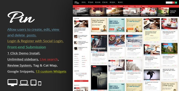 Pin Pinterest风格/瀑布流博客WordPress主题