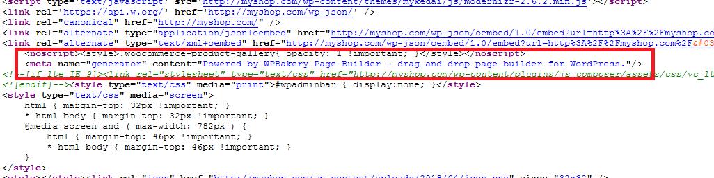 页面编辑器 (WP Bakery Page Builder) Meta generator 信息如何使用代码删除