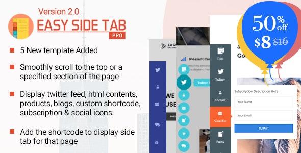 Easy Side Tab Pro响应式客服标签Wordpress插件