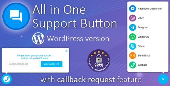 All in One Support Button with callback在线客服WordPress插件