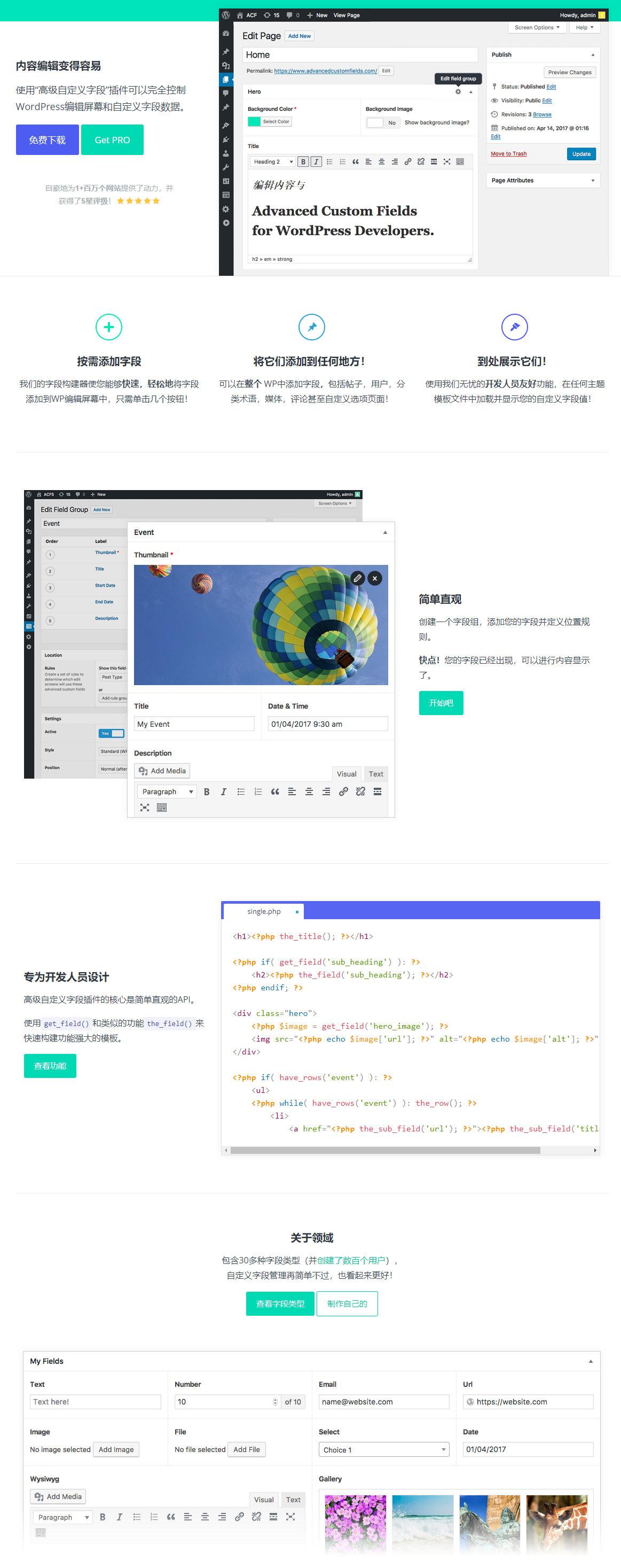 Advanced Custom Fields PRO -高级自定义字段WordPress插件汉化版
